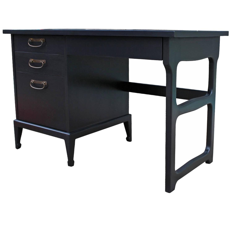 Elegant Ebonized Desk with Brass Hardware by American of
