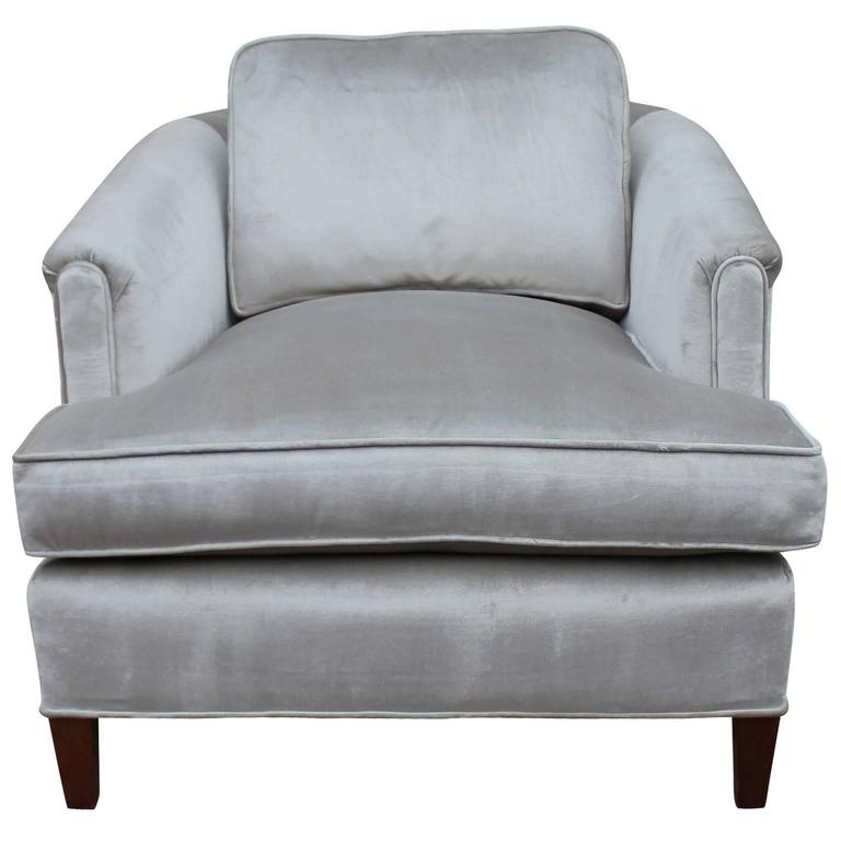 Exceptionnel Mid Century Modern Stunning Pair Of Barrel Back Lounge Chairs In Silver  Grey Velvet For