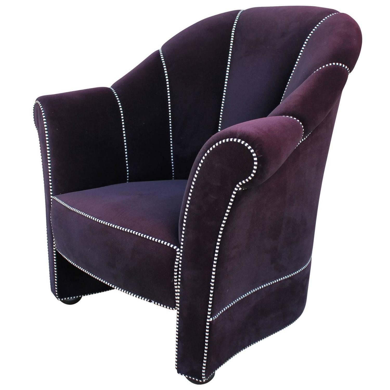 Purple Velvet Josef Hoffmann Lounge Chairs at 1stdibs
