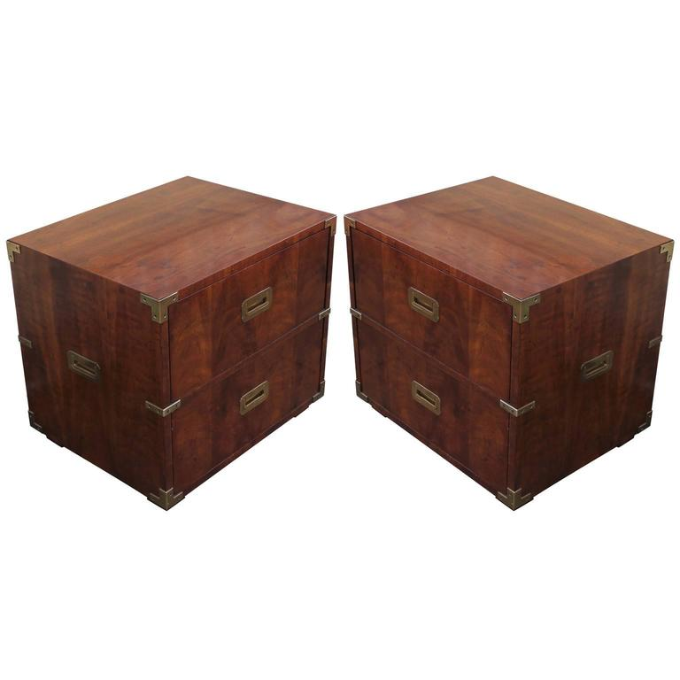 Lovely Pair Of Campaign Style Nightstands Or Side Tables By Henredon 2