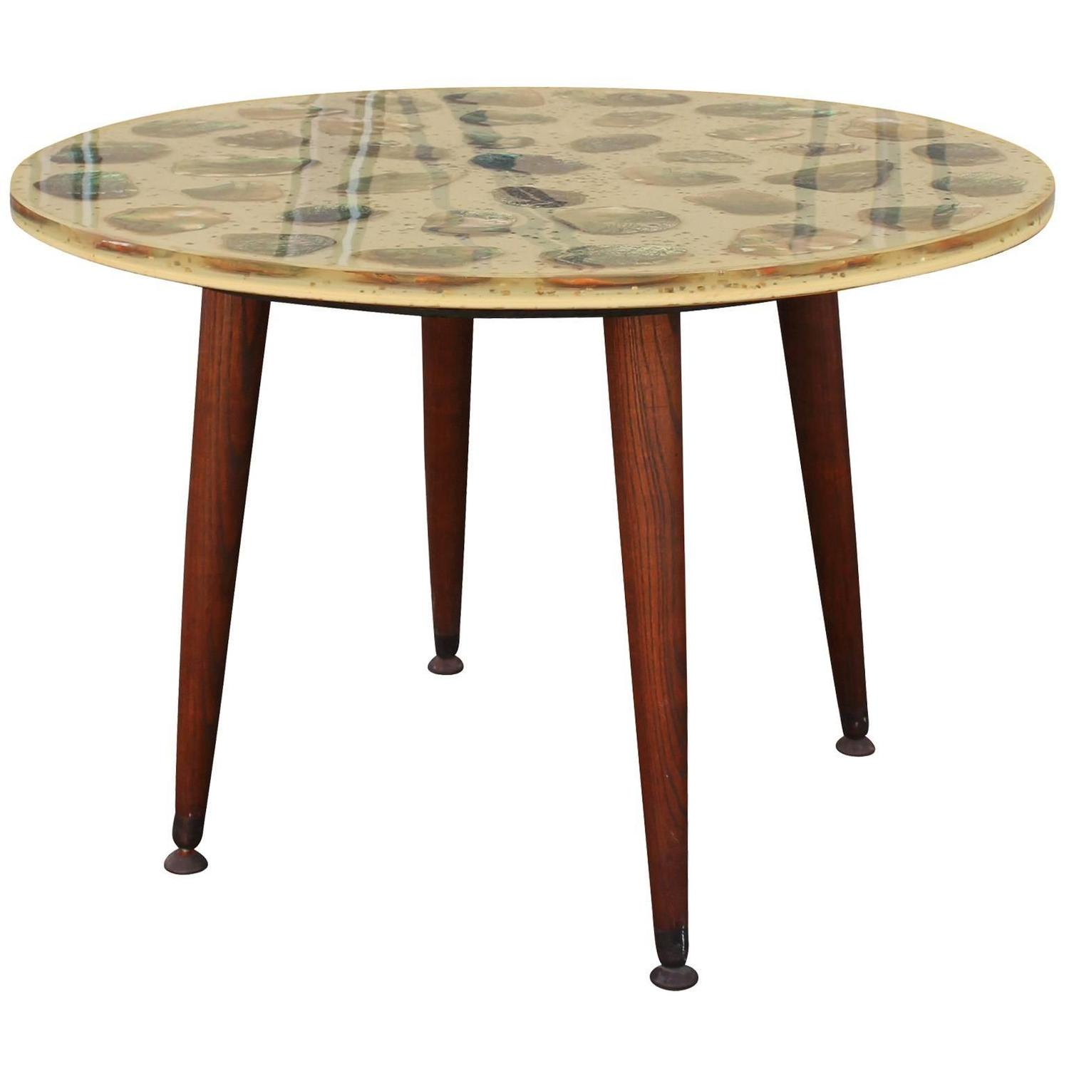 Unusual pair of resin and abalone round side tables at 1stdibs for Unusual round tables