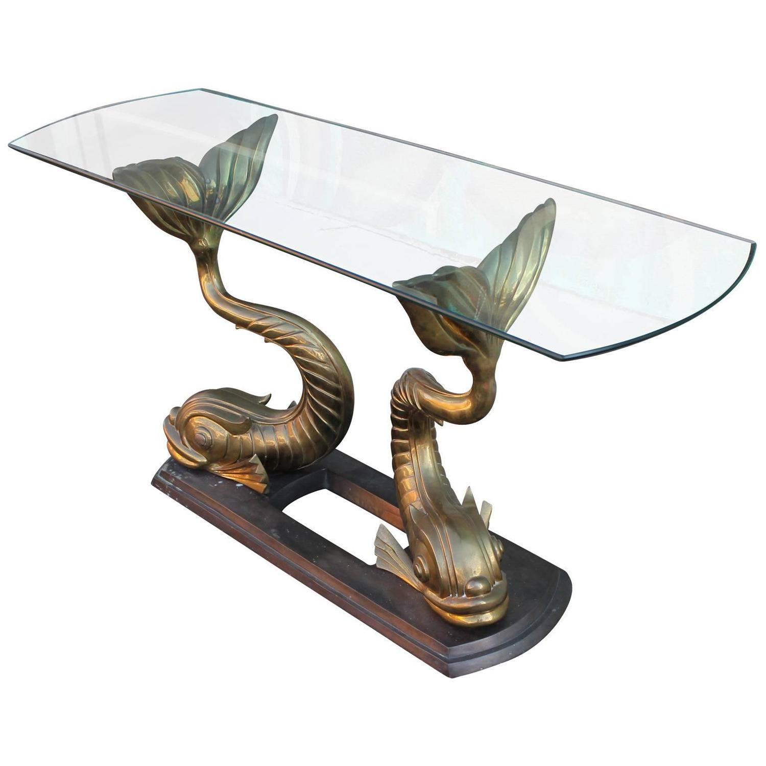 Magnificent sculptural brass koi fish console table at 1stdibs for Koi furniture