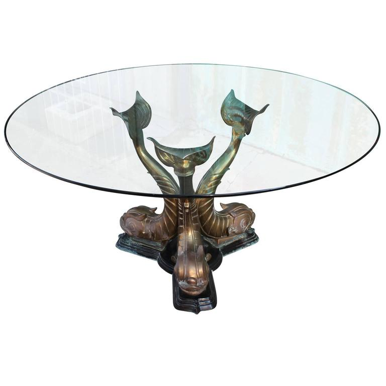 Incredible Round Dining Table. Brass Table Base Depicts Three Sculptural  Dolphin Fish. Topped With