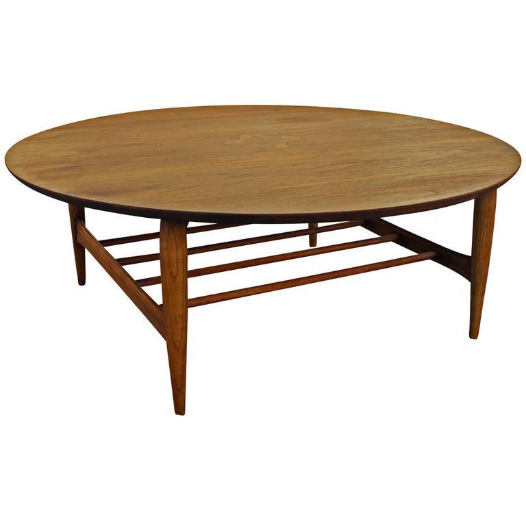 Lane Long Coffee Table: Round Lane Walnut Inlaid Coffee Table At 1stdibs