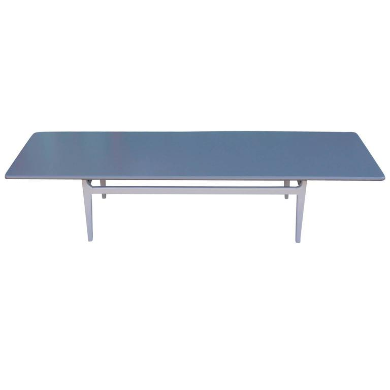 Lovely Modern Grey on Grey Rectangular Lacquered Coffee Table