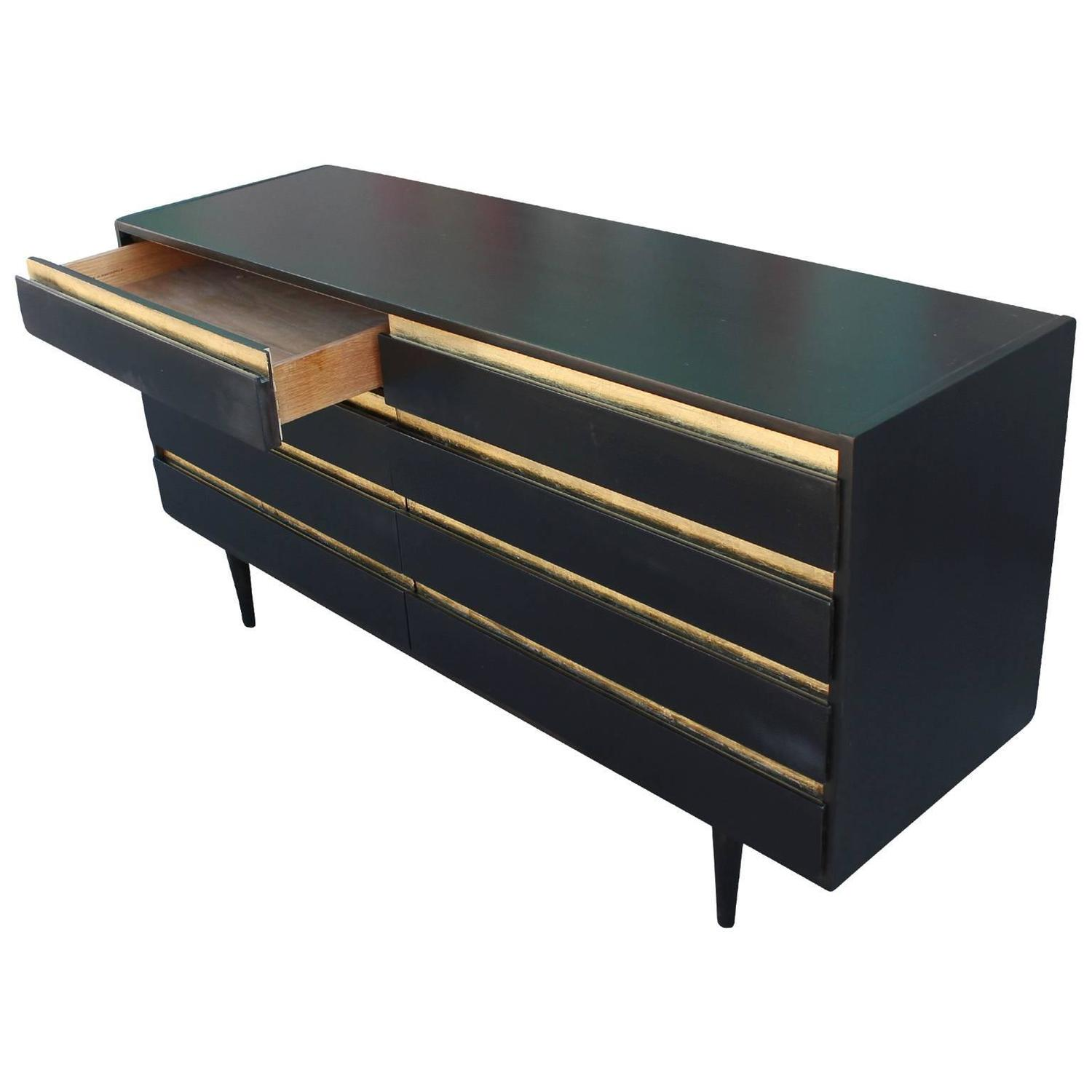 Bold Ebony Black And Gold Leaf Eight Drawer Dresser At 1stdibs