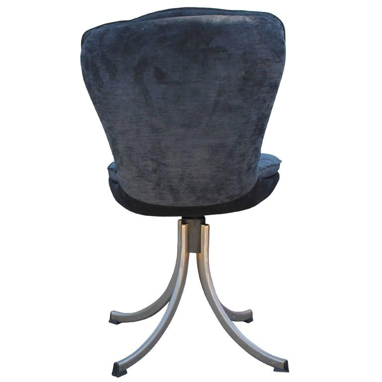 Stunning Set Of Four Modern Swivel Tufted Dining Chairs In