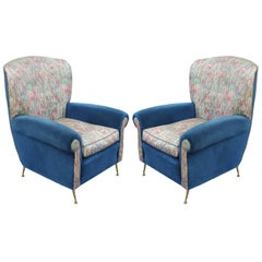 Pair of Brass Legged Italian Modern Lounge Chairs with Blue Velvet and Floral