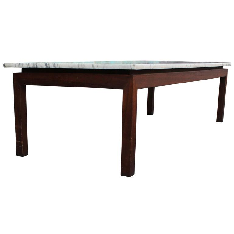 Clean Lined Walnut And Marble Coffee Table At 1stdibs