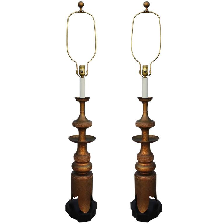 Fabulous Pair of Large James Mont Style Brass Modern Table Lamps