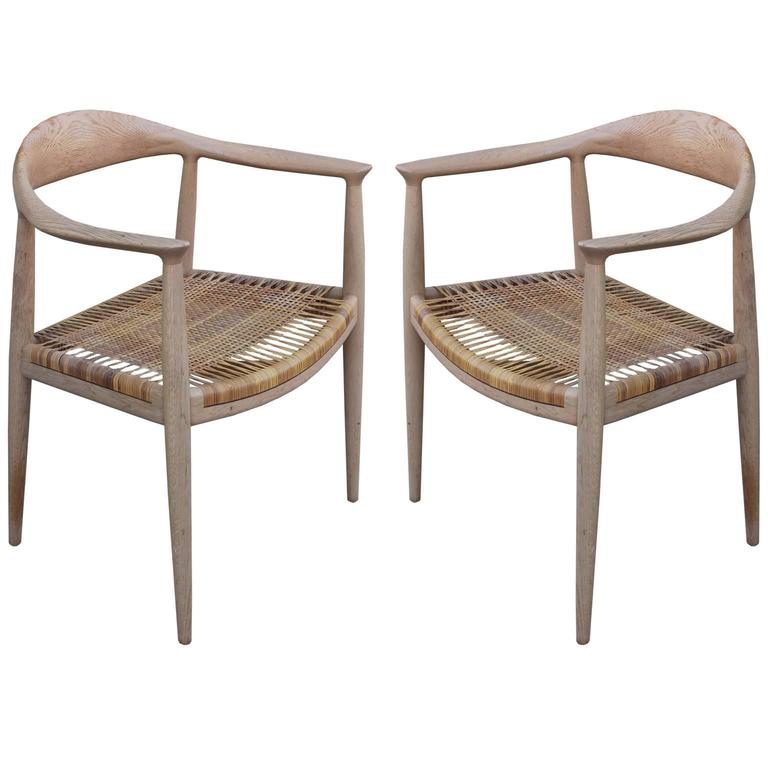 Pair of Early Modern Hans Wegner  The Chair  Chairs Bleached Wood and Woven  Cane. Pair of Early Modern Hans Wegner  The Chair  Chairs Bleached Wood