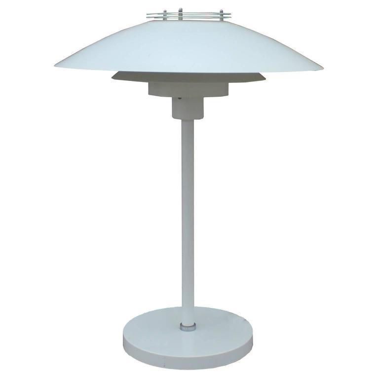 White Danish Modern Artichoke Style Table Lamp By Frandsen
