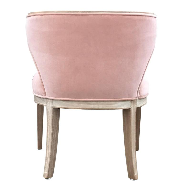 Set of Four Klismos Blush / Pink Velvet Bleached Modern Club Chairs For Sale 2