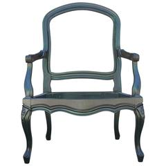 French Aniline Dyed Emerald Green Lounge Chair COM with Carved Detailing