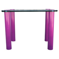 Modern Rectangular Glass Side Table with Purple Pink Lacquered Legs