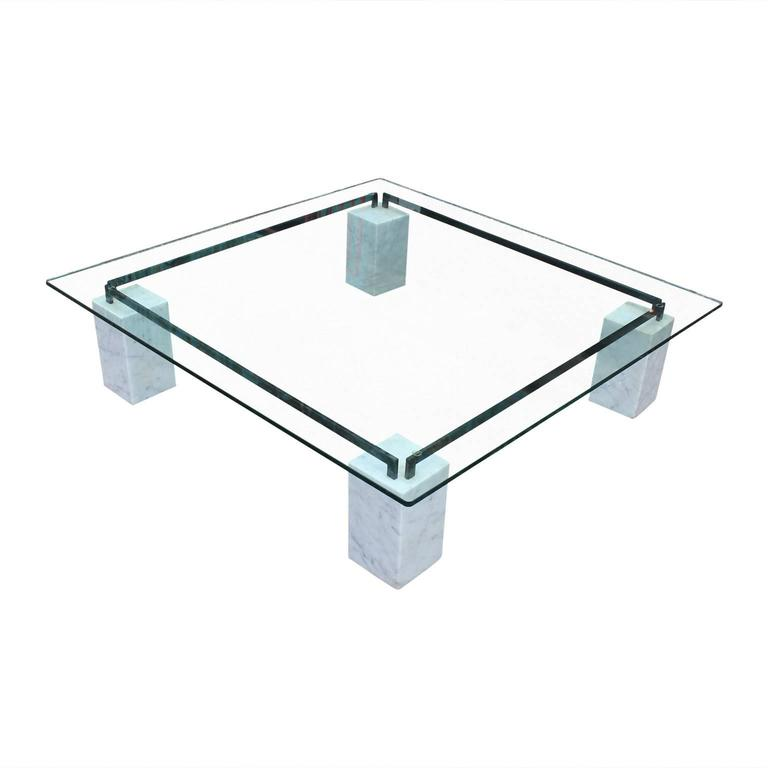 Charles Modern 47 Square Glass Top Coffee Table W: Modern Square Glass Cattelan Coffee Table With Carrara