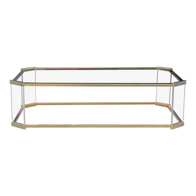Modern brass glass and lucite rectangular coffee table in for Lucite and brass coffee table