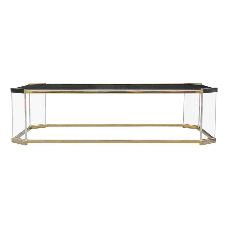 Modern Brass Glass And Lucite Rectangular Coffee Table In