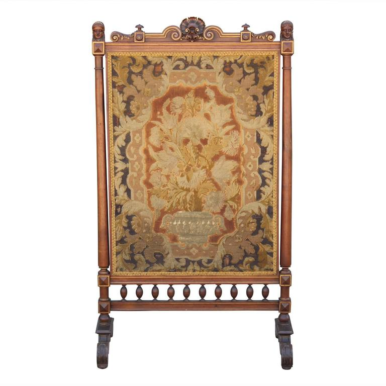 neoclassical style french tapestry fireplace screen with carved detailing for sale at 1stdibs. Black Bedroom Furniture Sets. Home Design Ideas