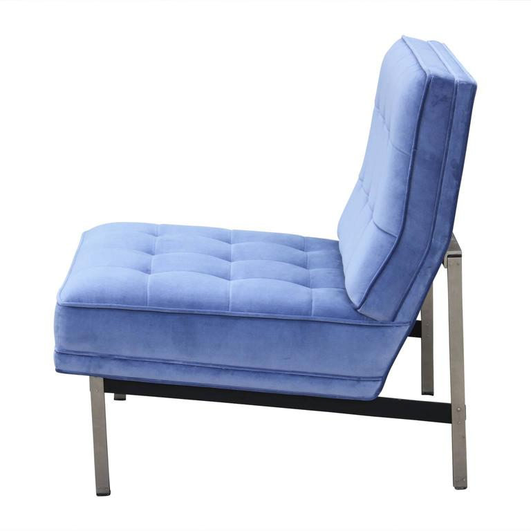 Pair of Modern 1960s Knoll Parallel Bar Lounge Chairs in Periwinkle Blue Velvet 4