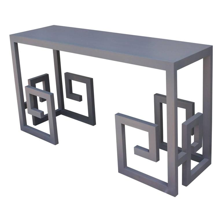Modern Greek Key Console Table In Grey For Sale At 1stdibs