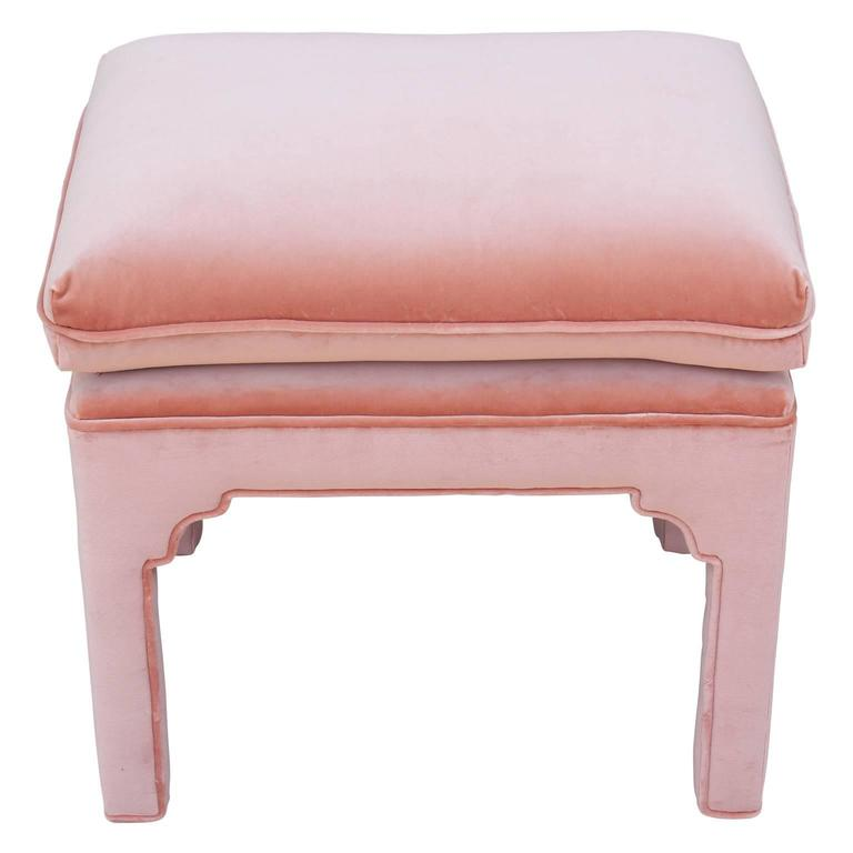 Pair of Modern Fully Upholstered Light Pink Velvet Footstools ...