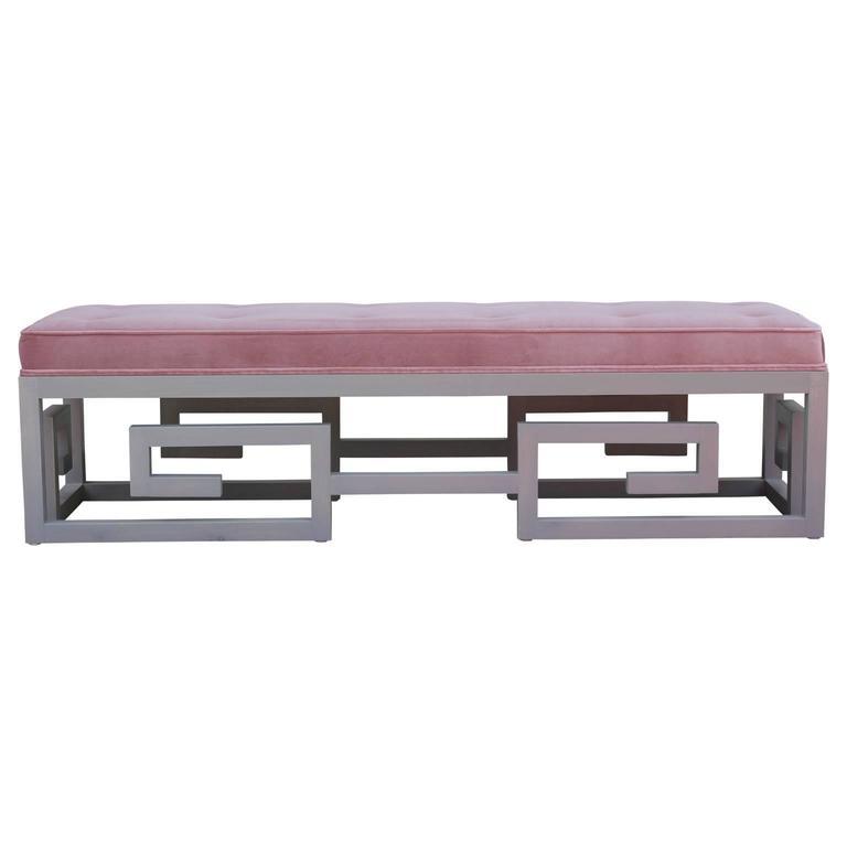 Modern Custom-Made Greek Key Rectangular Bench in Gray and Purple Velvet