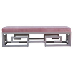 Modern Custom-Made Greek Key Rectangular Bench in Gray and Purple Velvet