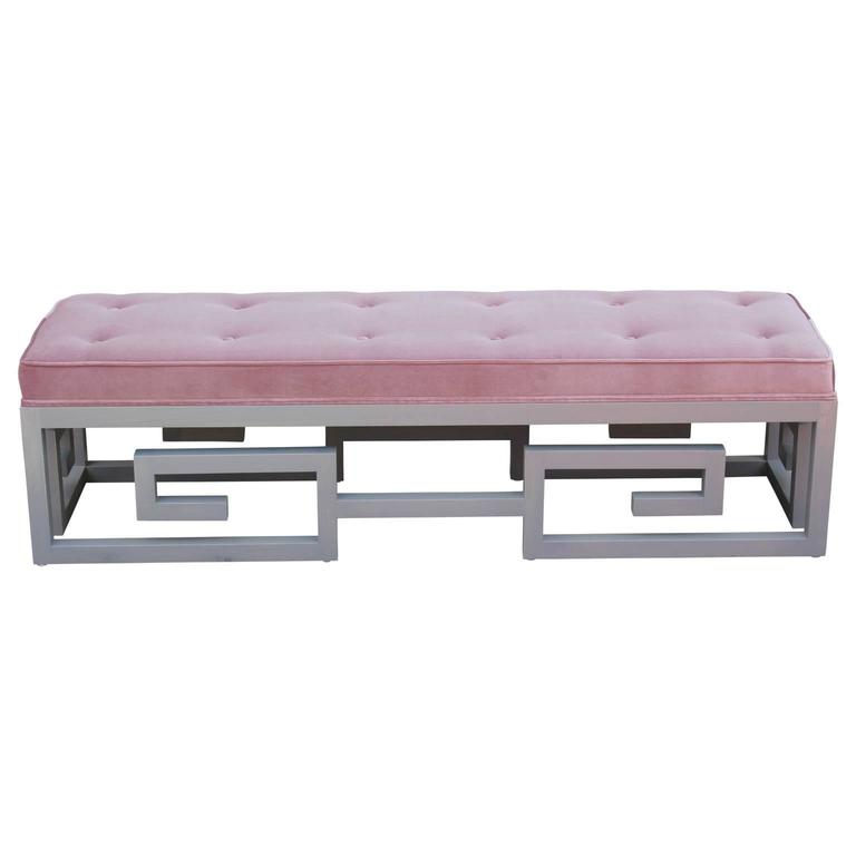 Unique Greek key bench custom-made in gray and purple velvet in the style of Baker Furniture Company or Kittinger. We also have another one available in a yellow velvet. Inquire for COM.