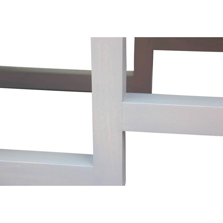 Modern Custom-Made Greek Key Rectangular Bench in Gray and Purple Velvet 1