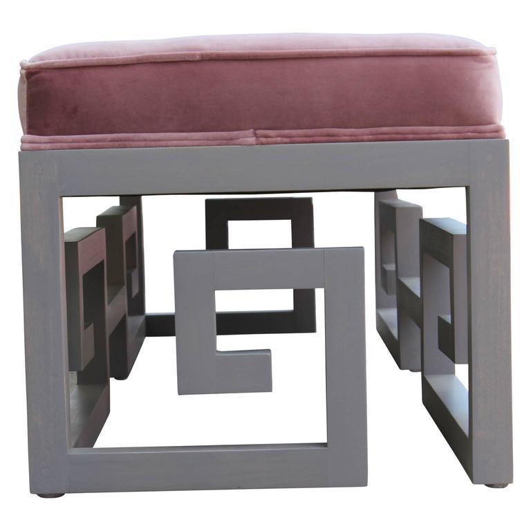 Contemporary Modern Custom-Made Greek Key Rectangular Bench in Gray and Purple Velvet