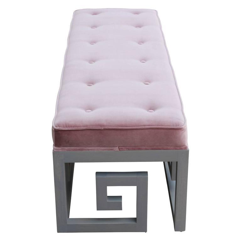 Modern Custom-Made Greek Key Rectangular Bench in Gray and Purple Velvet In Excellent Condition In Houston, TX