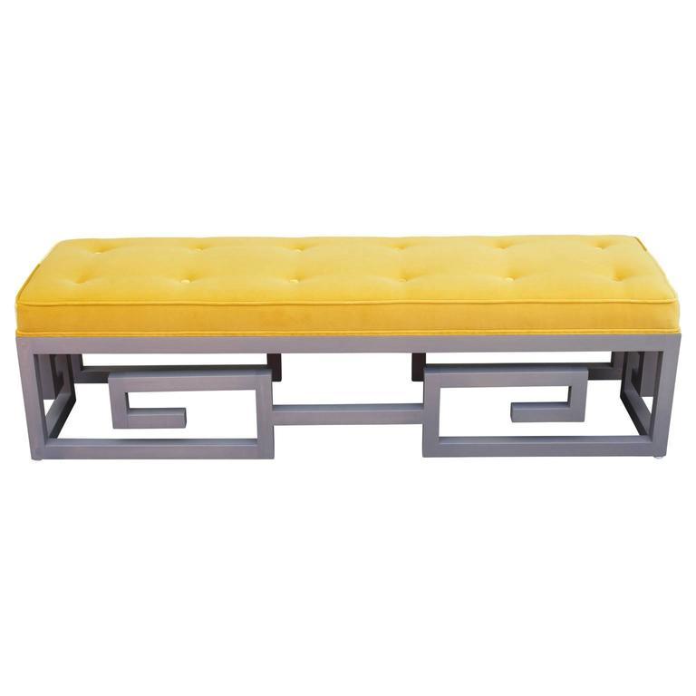 Modern Custom-Made Greek Key Rectangular Bench in Gray and Yellow Velvet