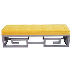 Modern Custom-Made Greek Key Rectangular Bench in Gray and Yellow Velvet