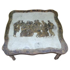 Philip and Kelvin LaVerne Etched Bronze and Pewter Etruscan Motif Coffee Table