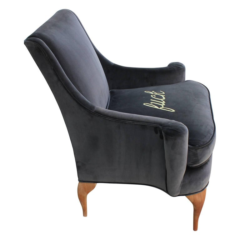 Stunning Custom Embroidered Lounge Chairs In Grey Velvet