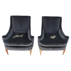 Stunning Custom Embroidered Lounge Chairs in Grey Velvet Sculptural Legs