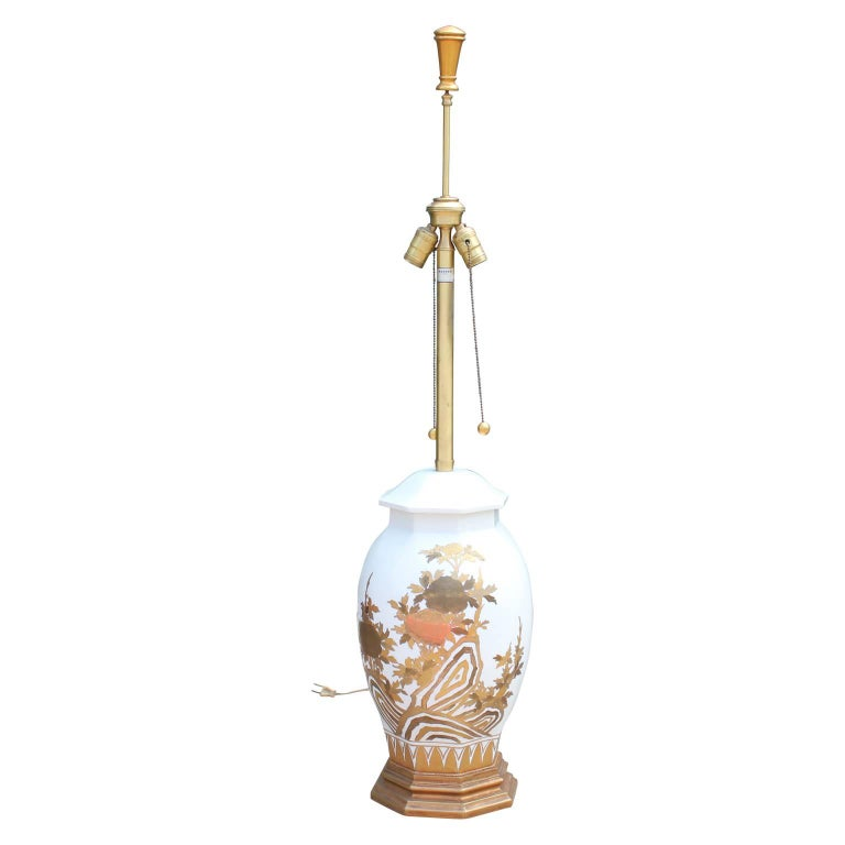 Hollywood Regency Pair of Large White Ceramic Table Lamps by Marbro with Gold Floral Detailing For Sale