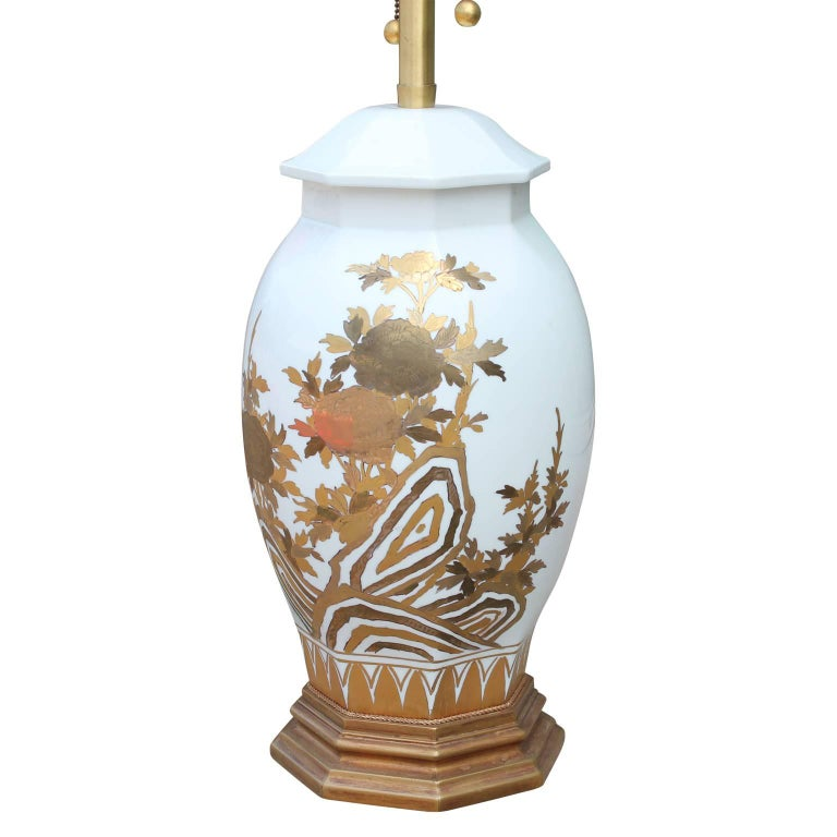 Pair of Large White Ceramic Table Lamps by Marbro with Gold Floral Detailing In Excellent Condition For Sale In Houston, TX