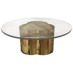 Modern Bernhard Rohne for Mastercraft Brass and Round Glass Trefoil Coffee Table