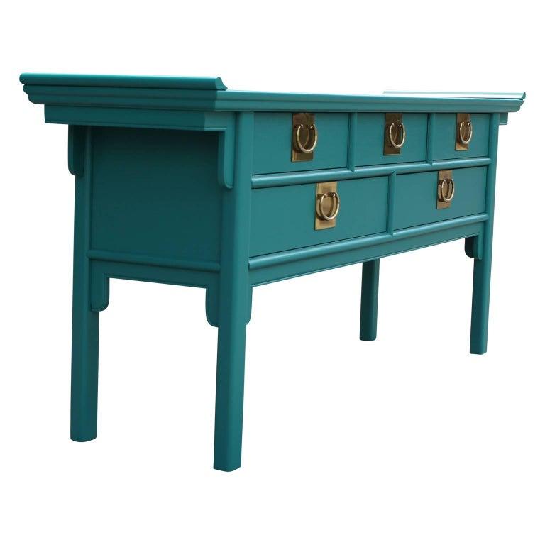 Teal Sofa Table: Modern Century Furniture Teal Five Drawer Dresser Or
