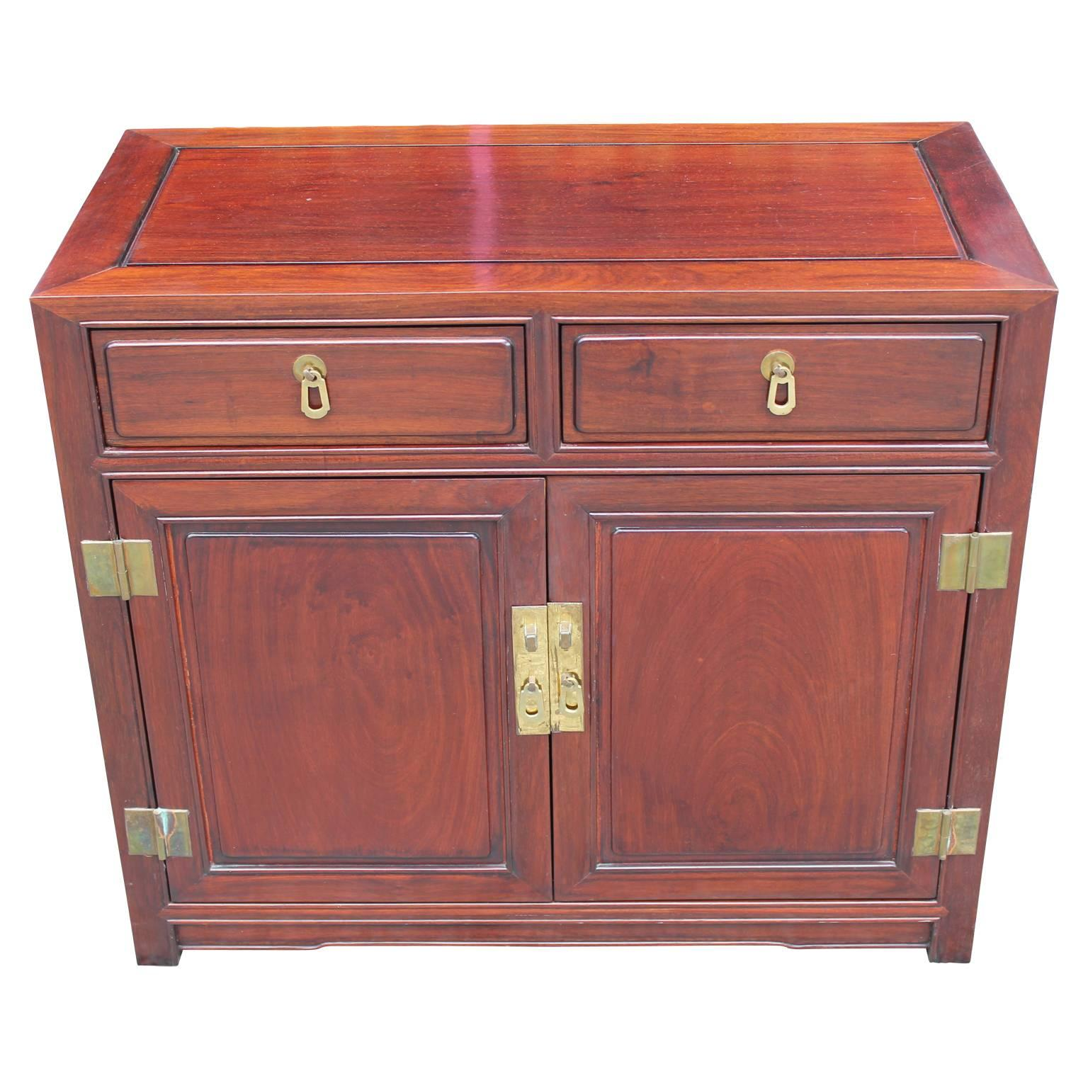 Good Modern Small Mahogany Cabinet / Chest With Brass Hardware Henredon Style 2