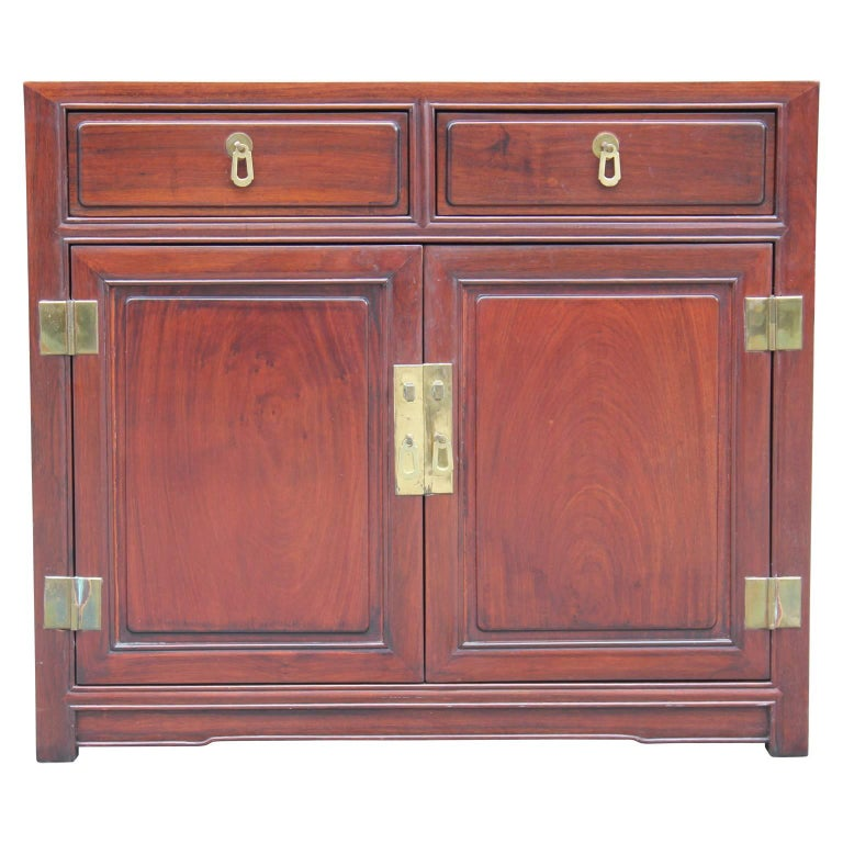 Modern Small Mahogany Cabinet / Chest with Brass Hardware Henredon Style