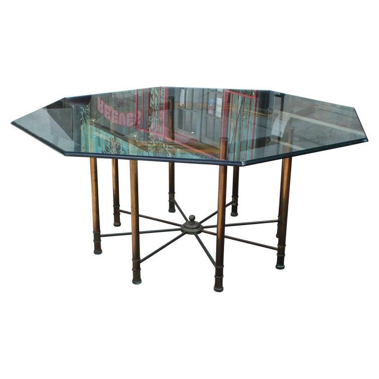 hollywood regency mastercraft brass and glass octagonal dining room table for sale at 1stdibs. Black Bedroom Furniture Sets. Home Design Ideas