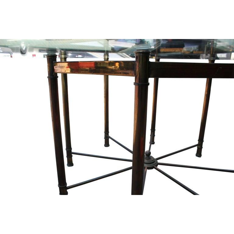 Octagon Dining Room Table: Hollywood Regency Mastercraft Brass And Glass Octagonal