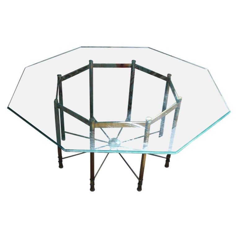 Hollywood Regency Mastercraft Brass And Glass Octagonal Dining Room - Octagon shaped dining table