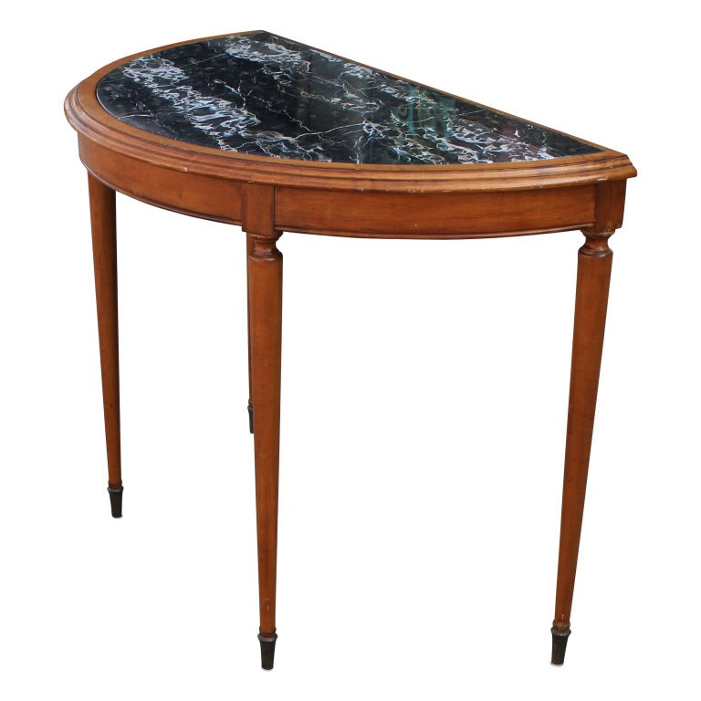 Hollywood Regency French Black Marble Demilune Console or Entryway Table with Brass Hardware For Sale