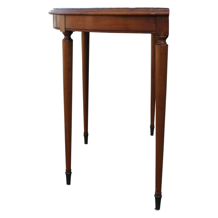 Mid-20th Century French Black Marble Demilune Console or Entryway Table with Brass Hardware For Sale