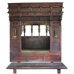 Traditional Chinese Wedding Bed with Platform and Hand-Carved Detailing