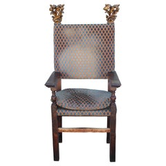 17th 18th Century Spanish / Italian Gilt Throne Chair with Gold Painted Finials